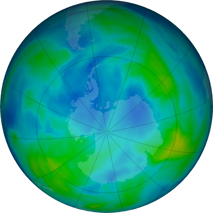 Antarctic ozone map for 07 May 2020