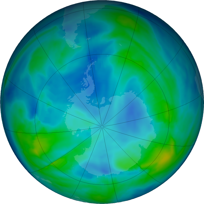 Antarctic ozone map for 08 May 2020