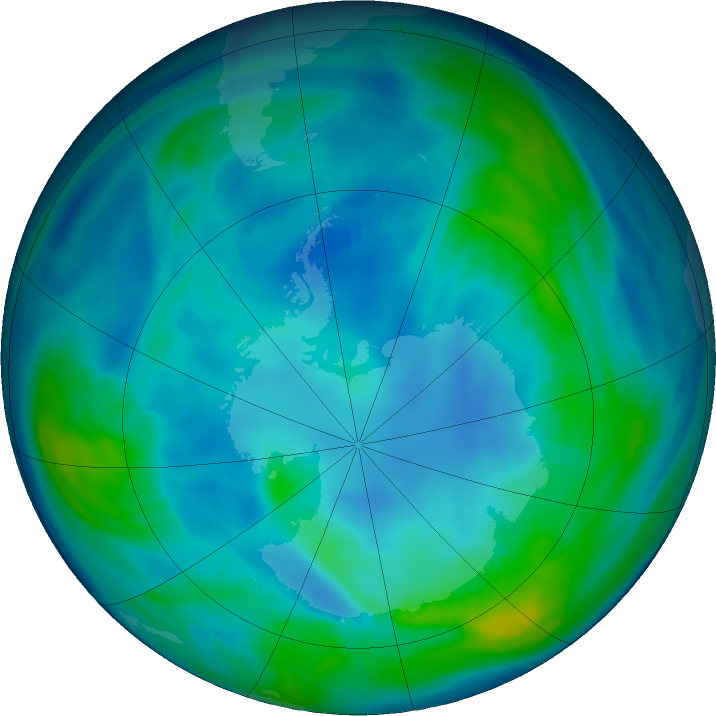 Antarctic ozone map for 09 May 2020