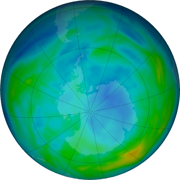 Antarctic ozone map for 14 May 2020