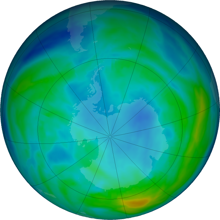 Antarctic ozone map for 15 May 2020