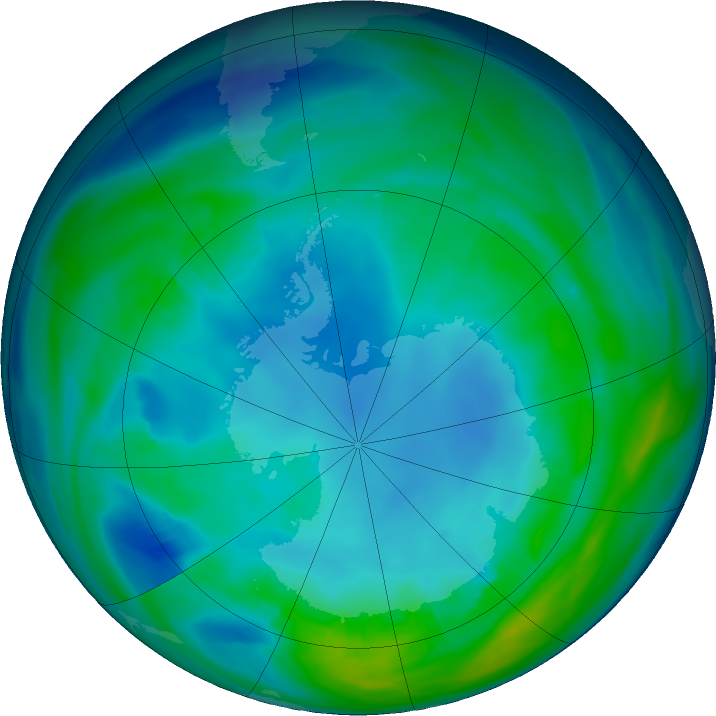 Antarctic ozone map for 16 May 2020