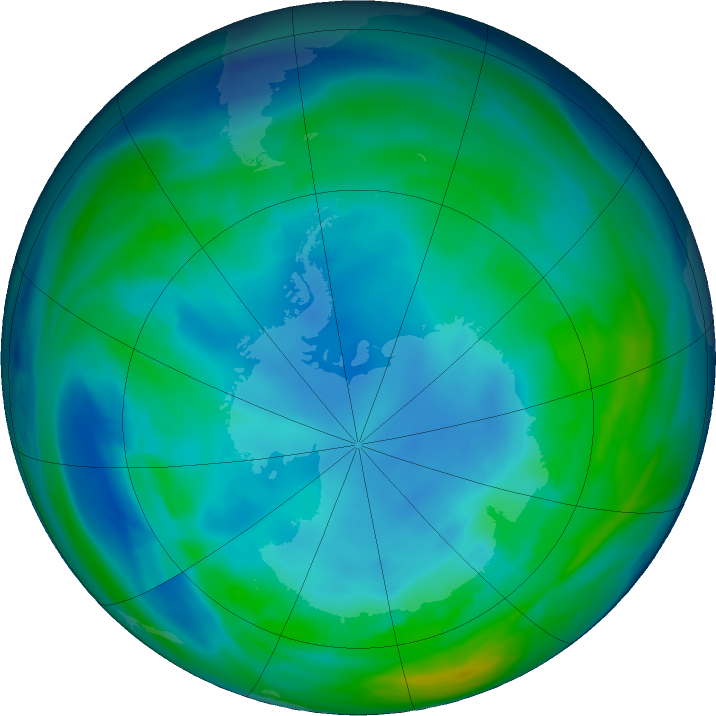 Antarctic ozone map for 17 May 2020