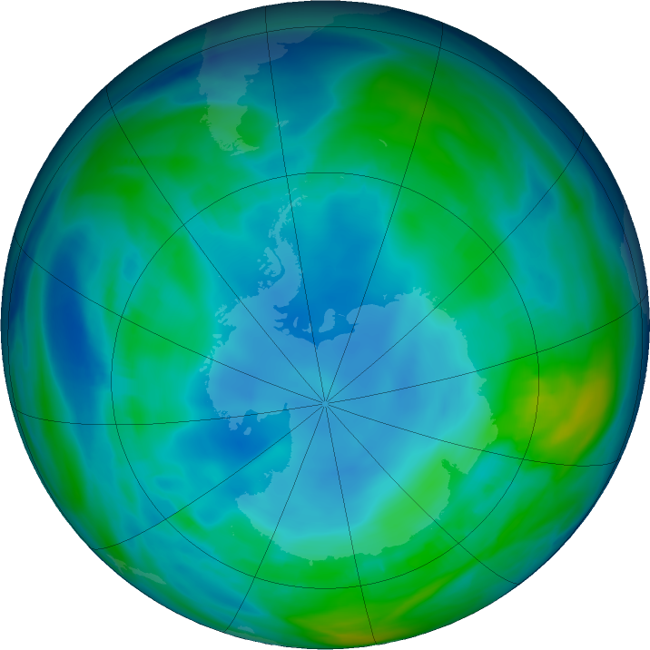 Antarctic ozone map for 18 May 2020