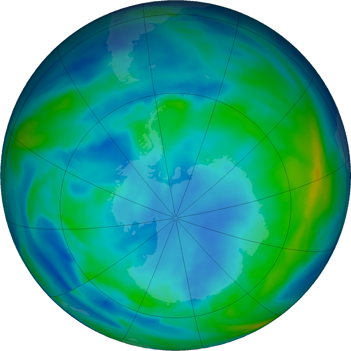 Antarctic ozone map for 23 May 2020