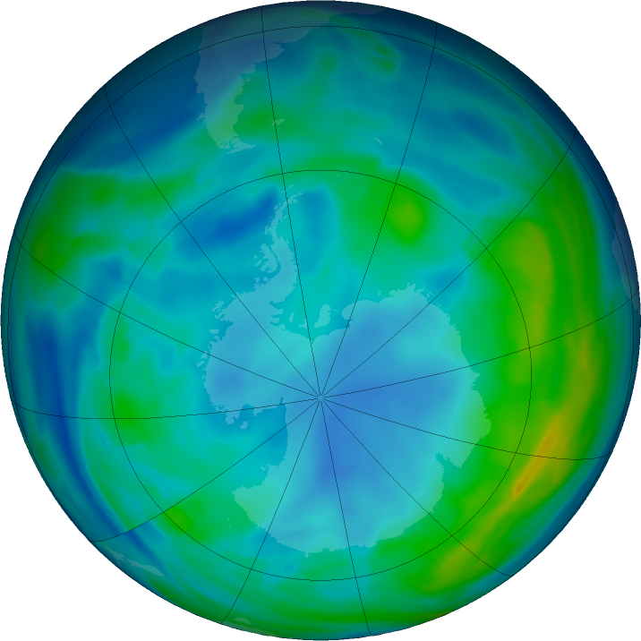 Antarctic ozone map for 24 May 2020