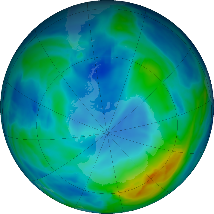 Antarctic ozone map for 26 May 2020