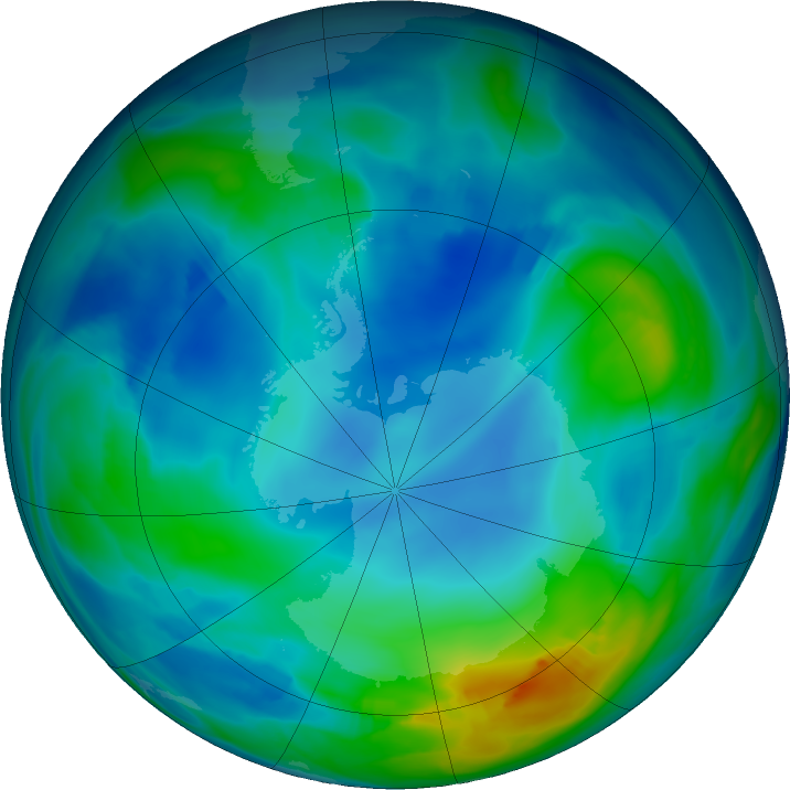 Antarctic ozone map for 27 May 2020