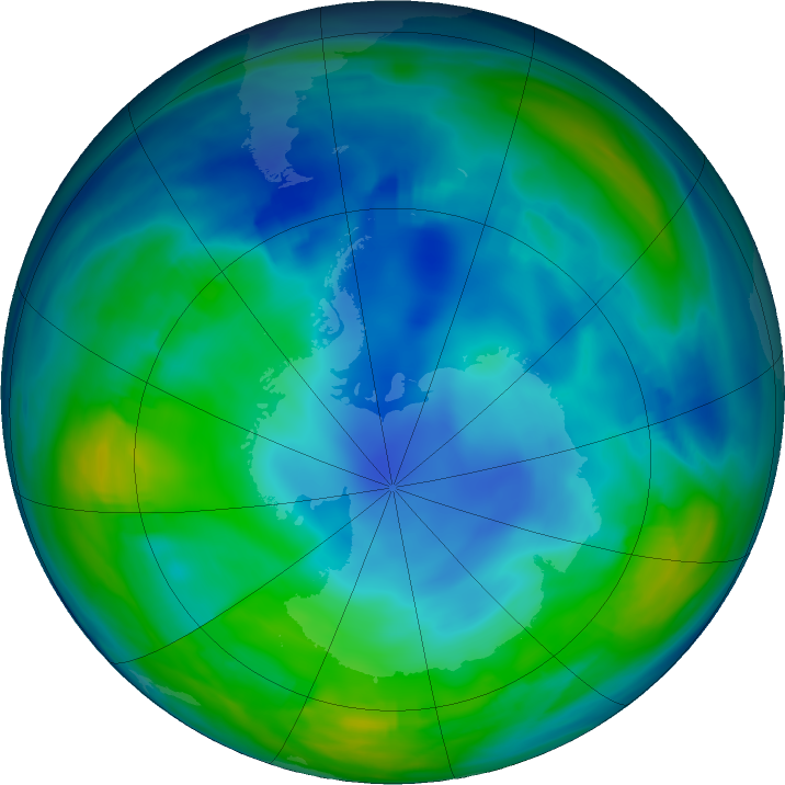 Antarctic ozone map for 31 May 2020