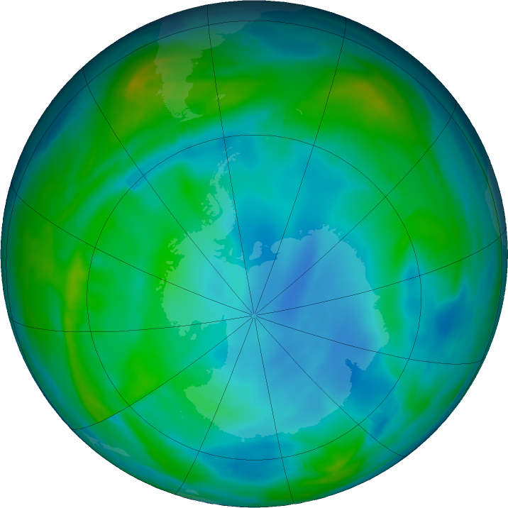 Antarctic ozone map for 23 June 2020
