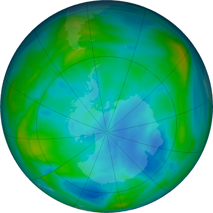 Antarctic ozone map for 24 June 2020