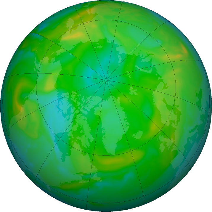 Arctic ozone map for 02 July 2020