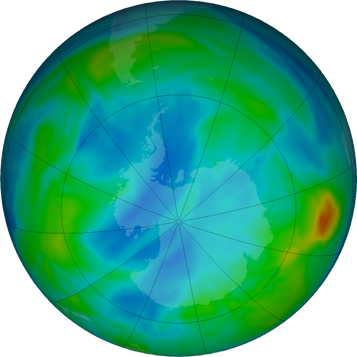 Antarctic ozone map for 03 July 2020