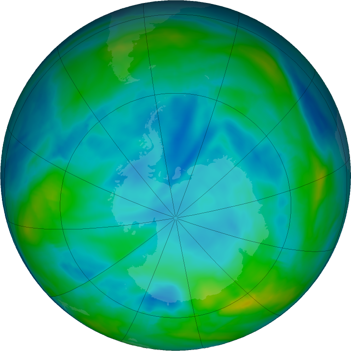 Antarctic ozone map for 05 July 2020