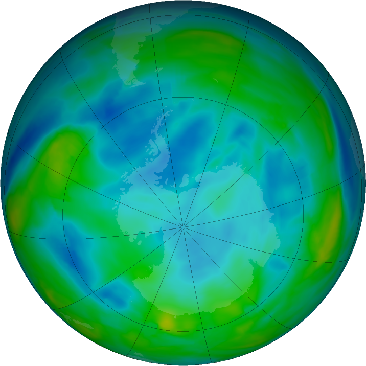 Antarctic ozone map for 06 July 2020