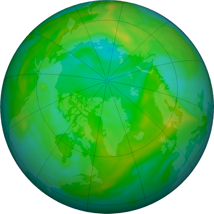 Arctic ozone map for 07 July 2020