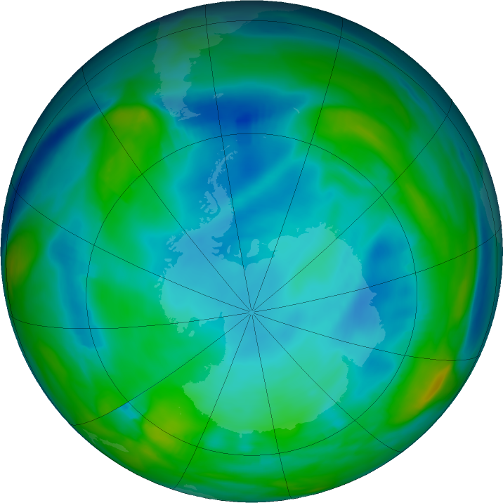 Antarctic ozone map for 07 July 2020