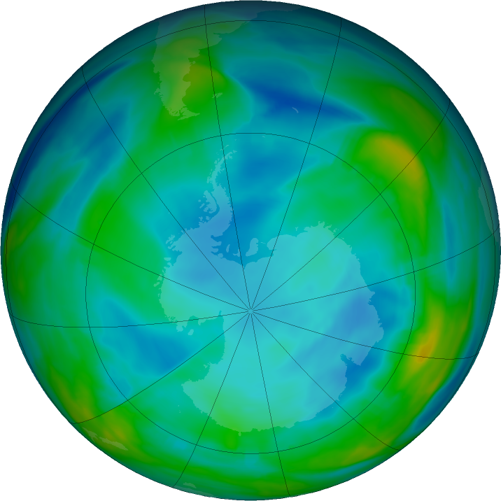 Antarctic ozone map for 08 July 2020