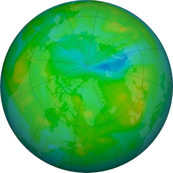 Arctic ozone map for 10 July 2020