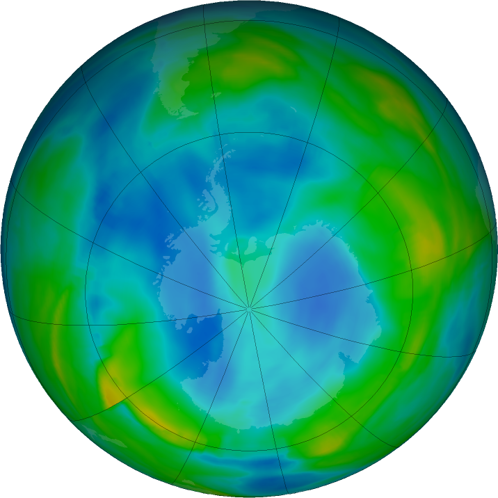 Antarctic ozone map for 11 July 2020