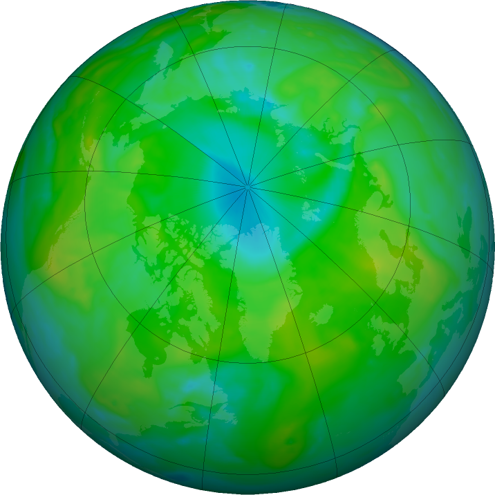Arctic ozone map for 12 July 2020