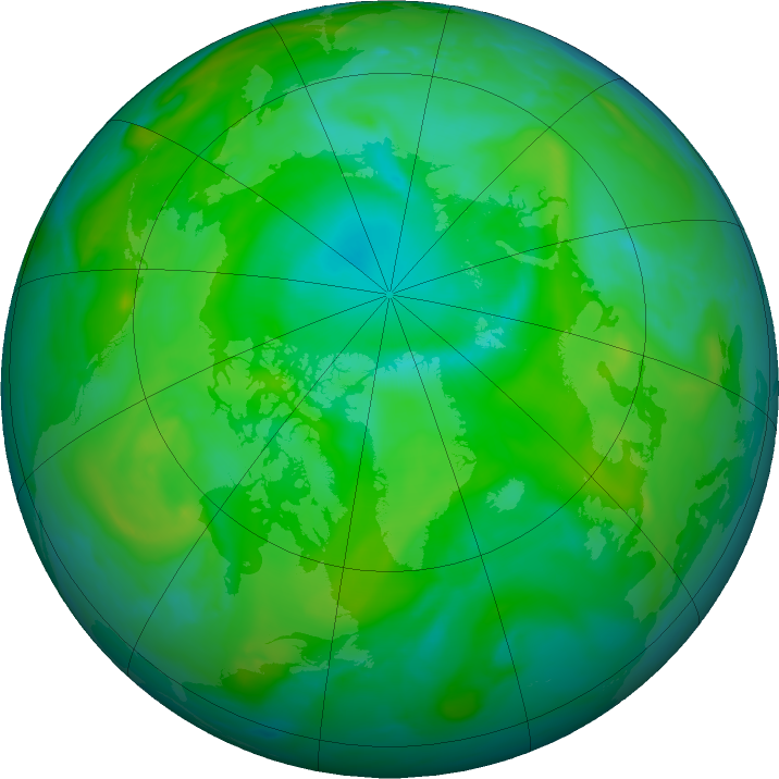 Arctic ozone map for 14 July 2020