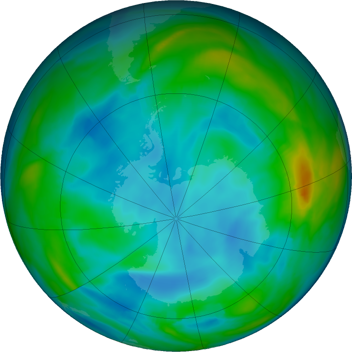 Antarctic ozone map for 14 July 2020