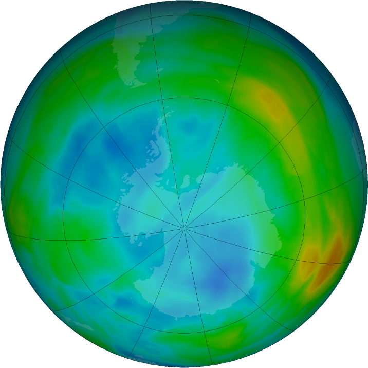 Antarctic ozone map for 17 July 2020