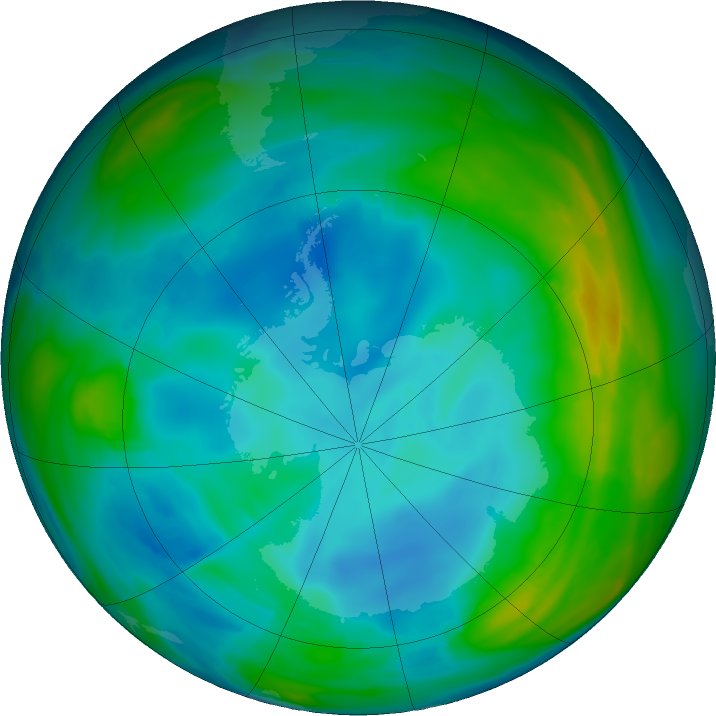 Antarctic ozone map for 19 July 2020