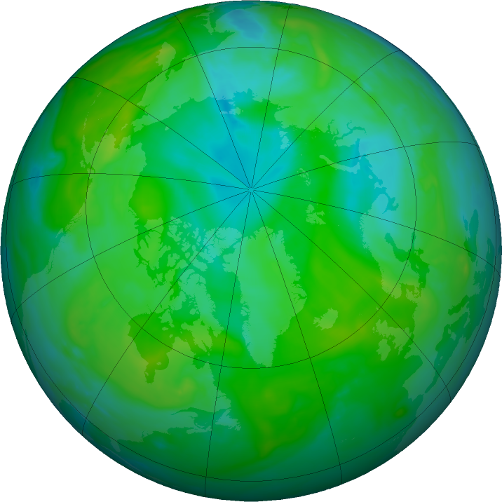 Arctic ozone map for 20 July 2020