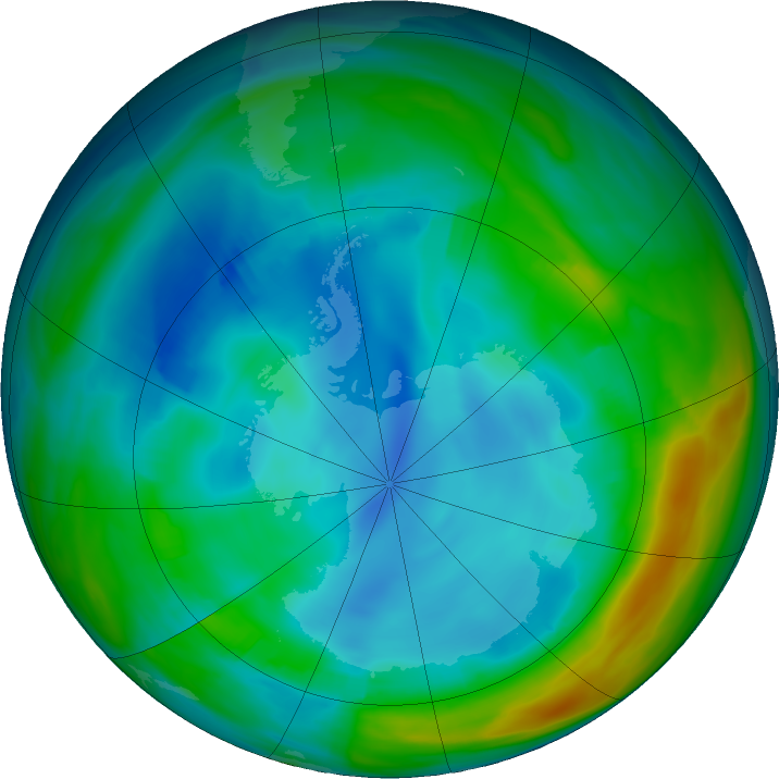 Antarctic ozone map for 26 July 2020