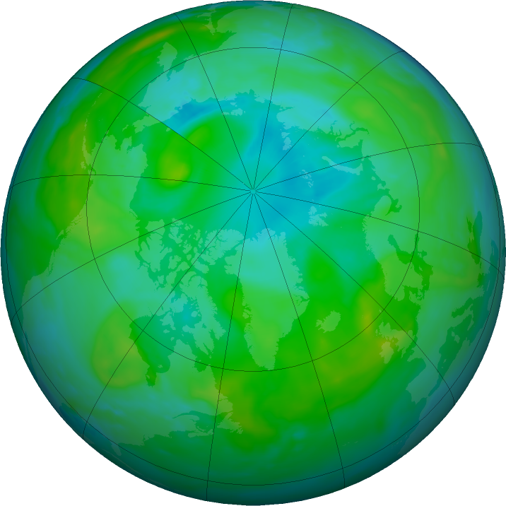 Arctic ozone map for 27 July 2020