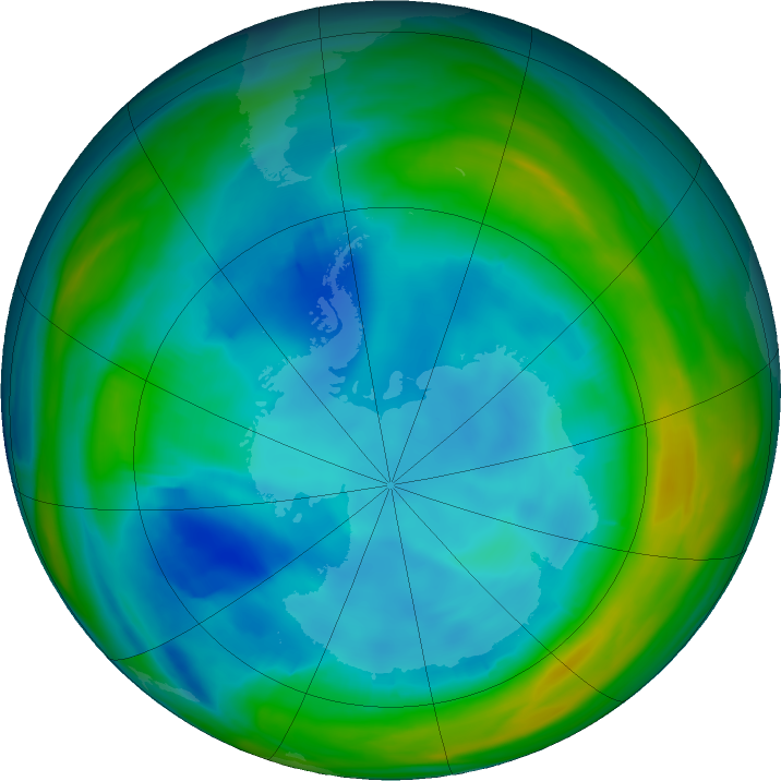 Antarctic ozone map for 30 July 2020