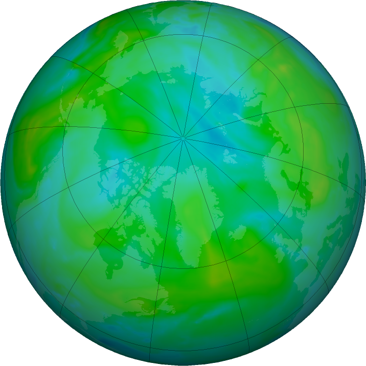 Arctic ozone map for 31 July 2020