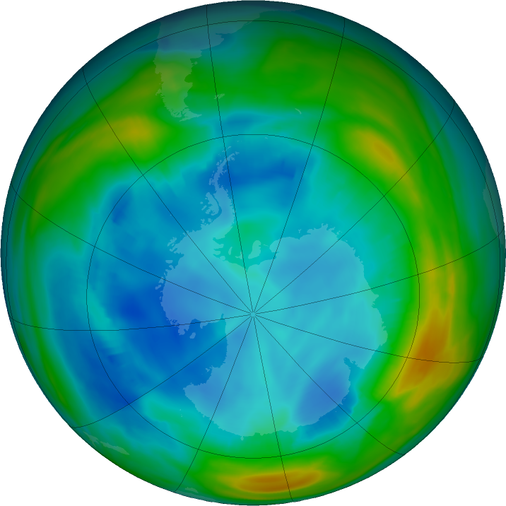 Antarctic ozone map for 01 August 2020