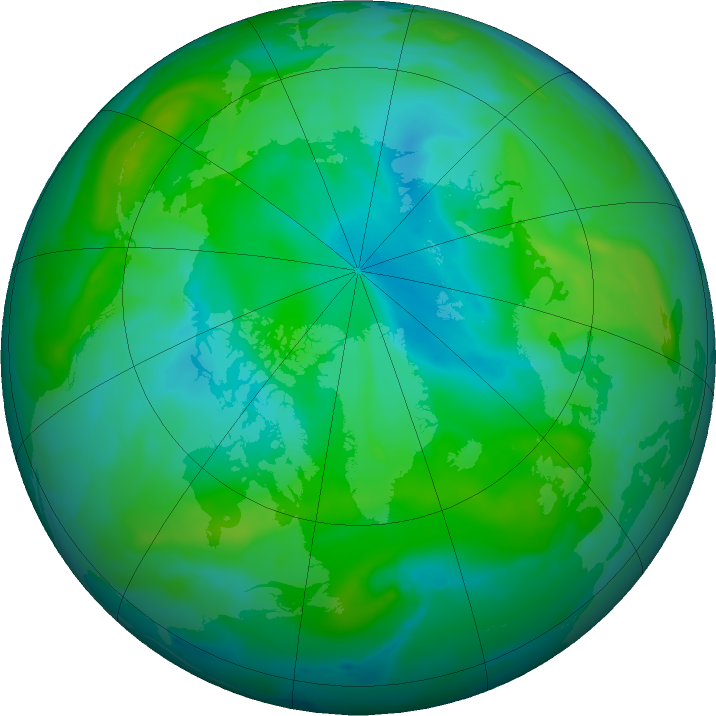 Arctic ozone map for 02 August 2020