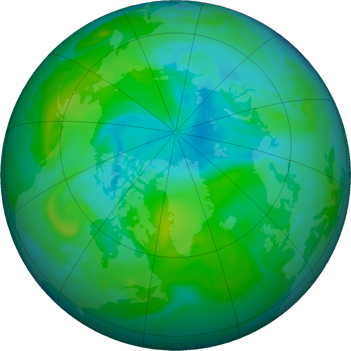 Arctic ozone map for 09 August 2020
