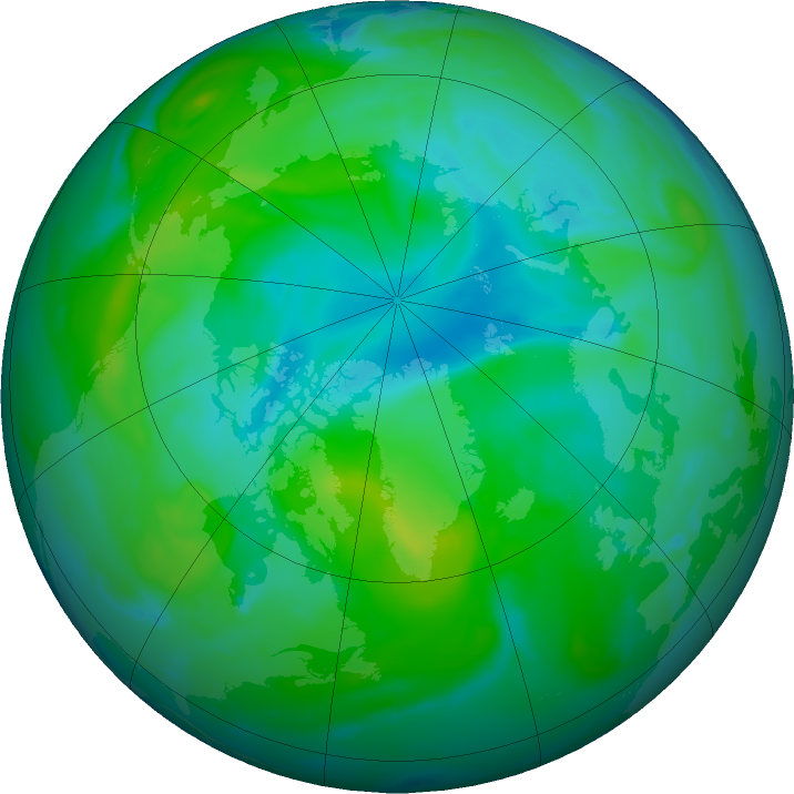 Arctic ozone map for 10 August 2020
