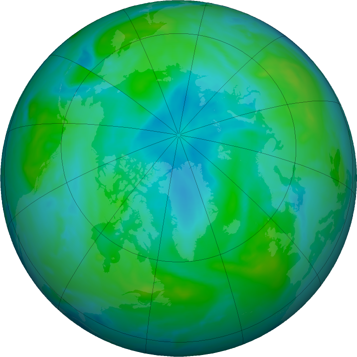 Arctic ozone map for 21 August 2020