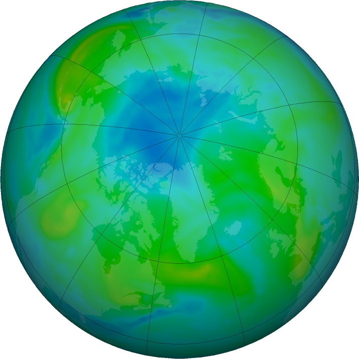 Arctic ozone map for 30 August 2020