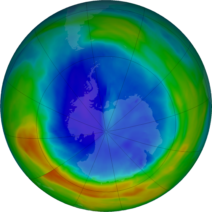 Antarctic ozone map for 30 August 2020