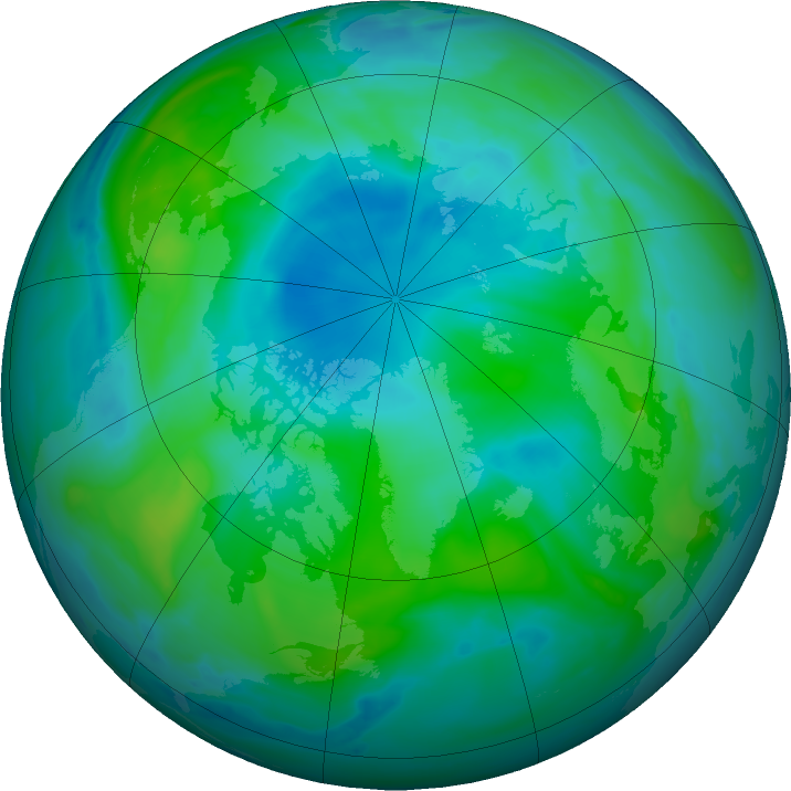 Arctic ozone map for 31 August 2020