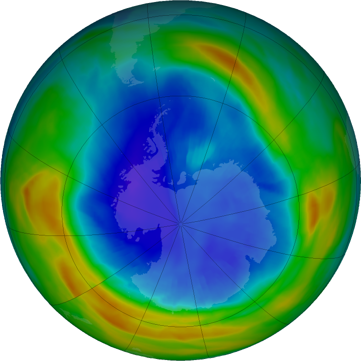 Antarctic ozone map for 31 August 2020