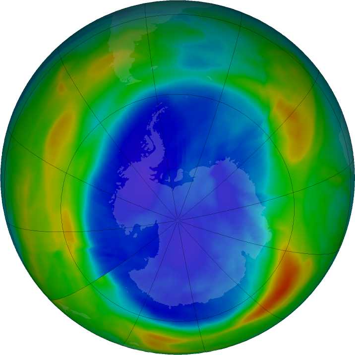 Antarctic ozone map for 03 September 2020