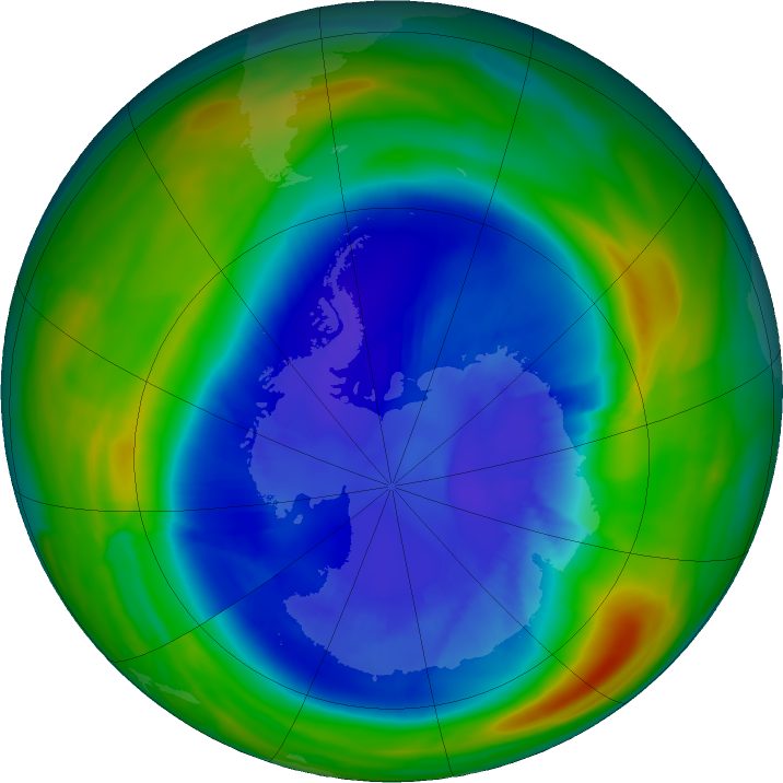 Antarctic ozone map for 04 September 2020