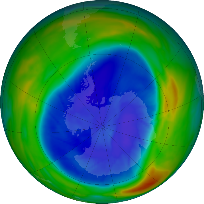 Antarctic ozone map for 05 September 2020