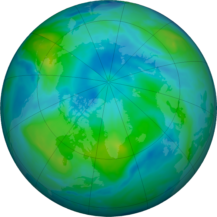 Arctic ozone map for 07 September 2020