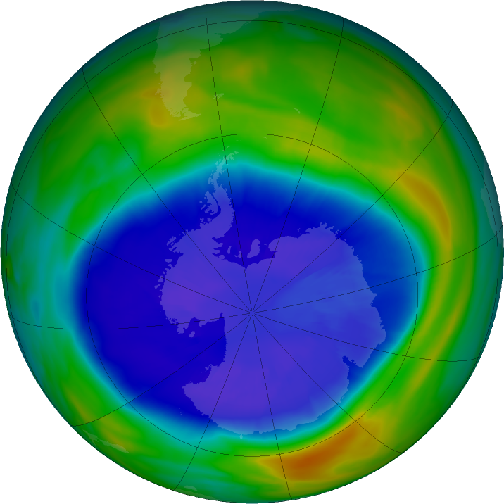 Antarctic ozone map for 10 September 2020