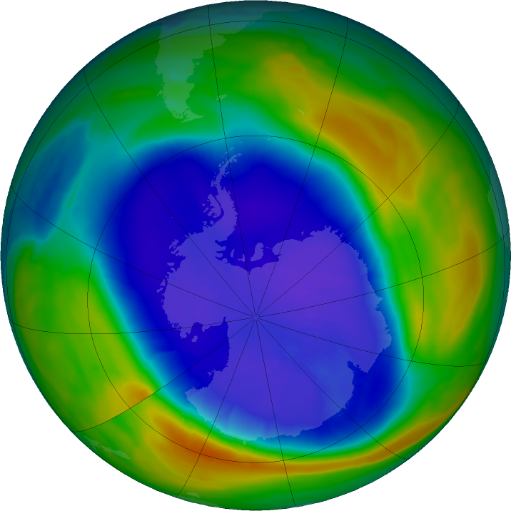 Antarctic ozone map for 14 September 2020