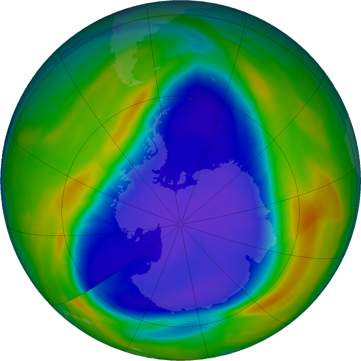 Antarctic ozone map for 17 September 2020
